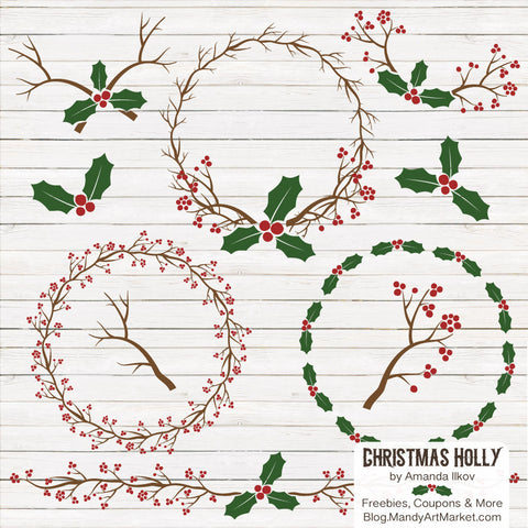 Holly Wreaths Clipart in Christmas by Amanda Ilkov - Mandy Art Market - 1