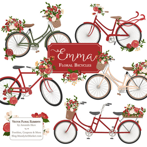 Floral Bicycles Clipart in Christmas by Amanda Ilkov - Mandy Art Market - 1