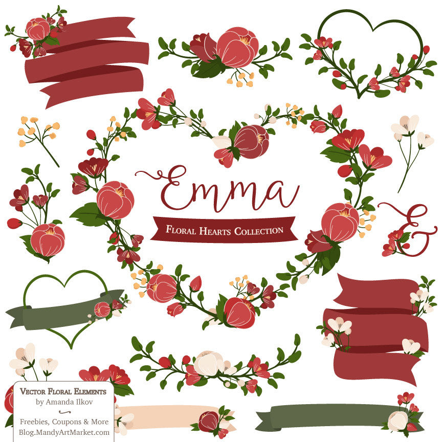 Floral Heart Wreaths Clipart in Christmas – Mandy Art Market