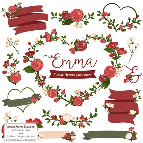 Floral Heart Wreaths Clipart in Christmas by Amanda Ilkov - Mandy Art Market - 1