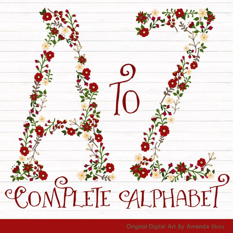 Floral Alphabet in Traditional Christmas by Amanda Ilkov - Mandy Art Market - 1