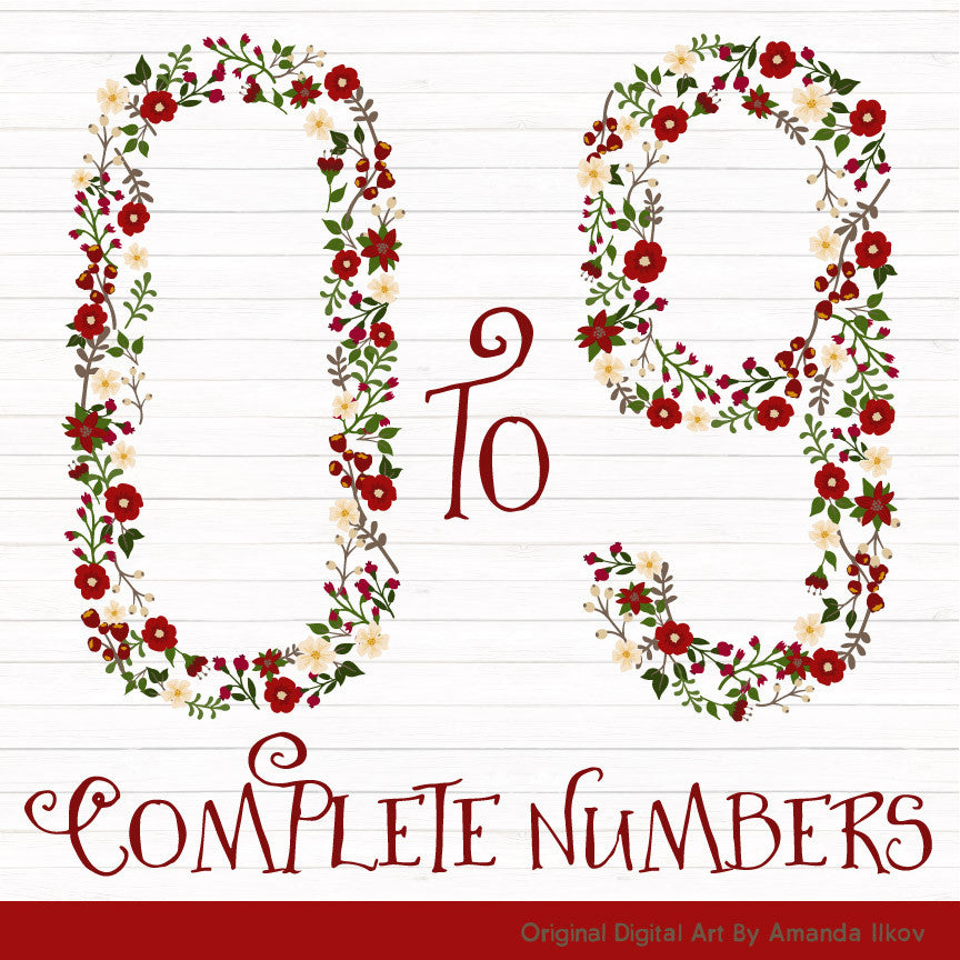 Floral Numbers Clipart in Traditional Christmas – Mandy Art Market