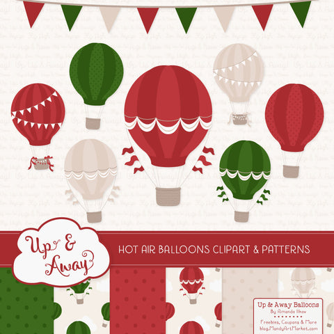 Hot Air Balloons Clipart & Digital Papers in Christmas by Amanda Ilkov - Mandy Art Market - 1