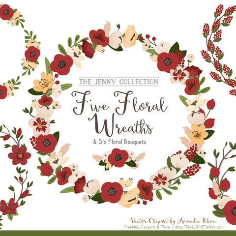 Round Floral Wreaths Clipart in Christmas by Amanda Ilkov - Mandy Art Market - 1