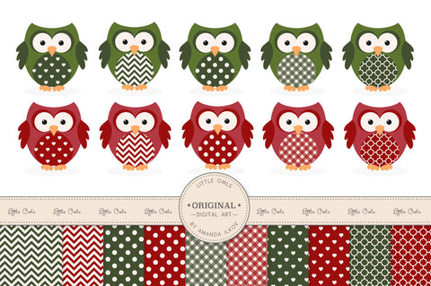 Owl Clipart & Digital Papers in Traditional Christmas by Amanda Ilkov - Mandy Art Market - 1