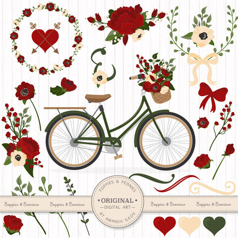 Floral Bicycle Set in Christmas by Amanda Ilkov - Mandy Art Market - 1