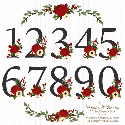 Floral Numbers in Christmas by Amanda Ilkov - Mandy Art Market - 1