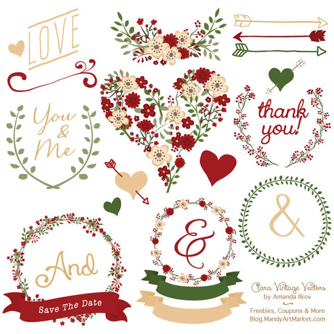 Floral Heart Clipart in Christmas by Amanda Ilkov - Mandy Art Market - 1