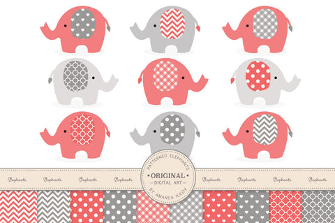 Elephant Clipart & Digital Papers in Coral & Grey by Amanda Ilkov - Mandy Art Market