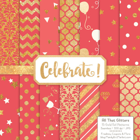 Celebrate Gold Foil Digital Papers in Coral by Amanda Ilkov - Mandy Art Market - 1