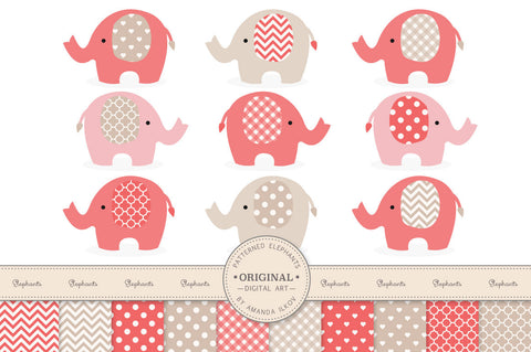 Elephant Clipart & Digital Papers in Coral by Amanda Ilkov - Mandy Art Market