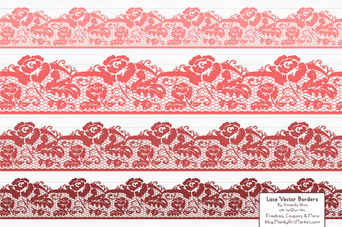 Lace Border Clipart in Coral by Amanda Ilkov - Mandy Art Market - 1