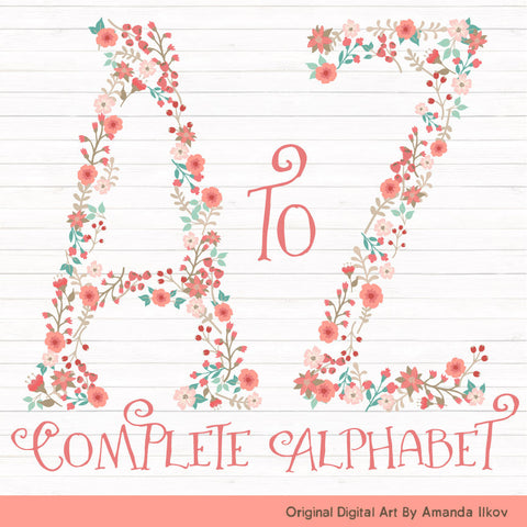 Floral Alphabet in Mint & Coral by Amanda Ilkov - Mandy Art Market - 1