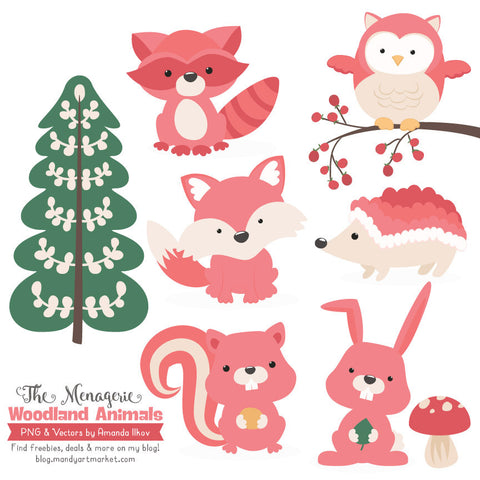 Woodland Animals Clipart in Coral by Amanda Ilkov - Mandy Art Market - 1