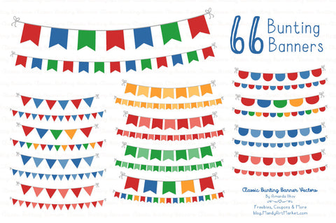 Classic Bunting Banner Clipart in Crayon Box Blue by Amanda Ilkov - Mandy Art Market - 1