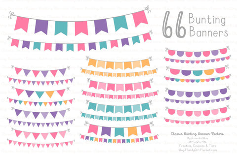 Classic Bunting Banner Clipart in Crayon Box Pink by Amanda Ilkov - Mandy Art Market - 1