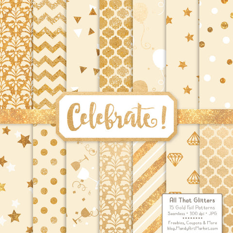 Celebrate Gold Foil Digital Papers in Cream by Amanda Ilkov - Mandy Art Market - 1