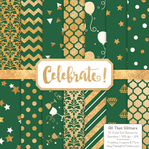 Celebrate Gold Foil Digital Papers in Emerald by Amanda Ilkov - Mandy Art Market