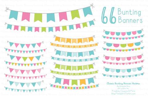 Classic Bunting Banner Clipart in Fresh by Amanda Ilkov - Mandy Art Market - 1