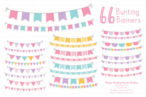 Classic Bunting Banner Clipart in Fresh Pink by Amanda Ilkov - Mandy Art Market - 1