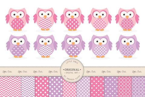 Owl Clipart & Digital Papers in Fresh Pink by Amanda Ilkov - Mandy Art Market - 1