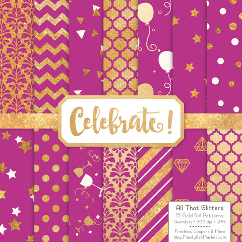 Celebrate Gold Foil Digital Papers in Fuchsia by Amanda Ilkov - Mandy Art Market - 1