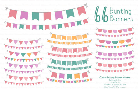 Classic Bunting Banner Clipart in Garden Party by Amanda Ilkov - Mandy Art Market - 1