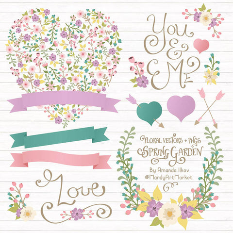 Floral Heart Clipart in Garden Party by Amanda Ilkov - Mandy Art Market - 1