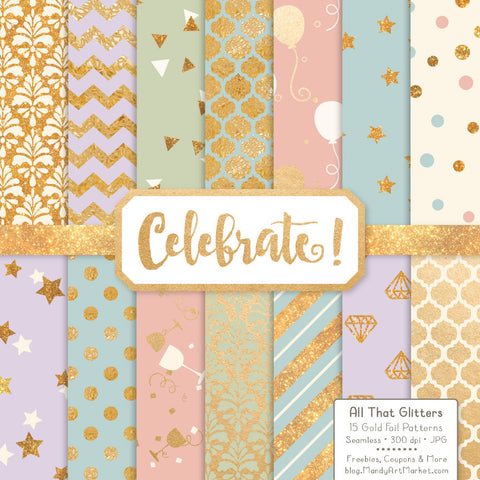 Celebrate Gold Foil Digital Papers in Grandmas Garden by Amanda Ilkov - Mandy Art Market - 1