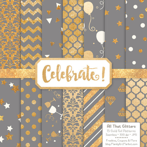 Celebrate Gold Foil Digital Papers in Grey by Amanda Ilkov - Mandy Art Market - 1