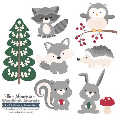 Woodland Animals Clipart in Grey by Amanda Ilkov - Mandy Art Market - 1