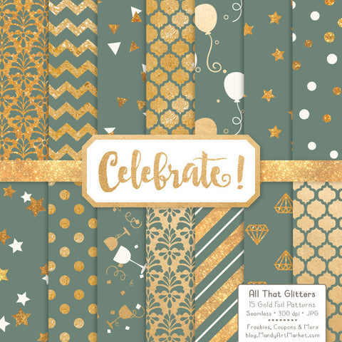 Celebrate Gold Foil Digital Papers in Hemlock by Amanda Ilkov - Mandy Art Market - 1
