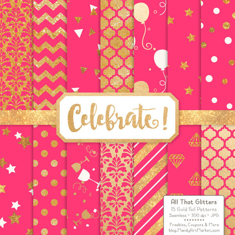 Celebrate Gold Foil Digital Papers in Hot Pink by Amanda Ilkov - Mandy Art Market - 1