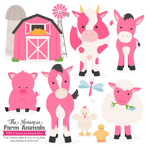 Farm Animals Clipart in Hot Pink by Amanda Ilkov - Mandy Art Market - 1