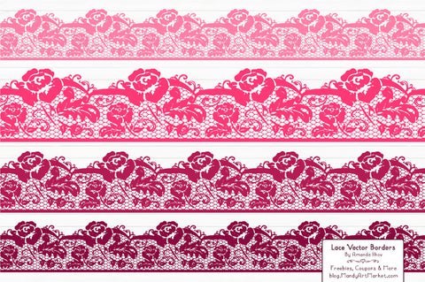 Lace Border Clipart in Hot Pink by Amanda Ilkov - Mandy Art Market - 1