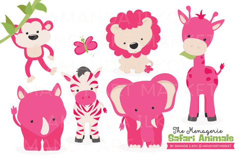 Safari Animals Clipart in Hot Pink by Amanda Ilkov - Mandy Art Market - 1