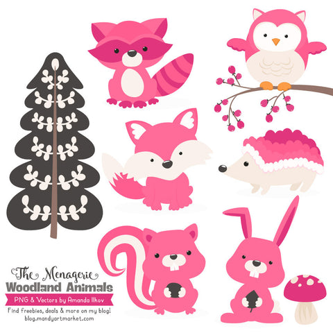 Woodland Animals Clipart in Hot Pink by Amanda Ilkov - Mandy Art Market - 1