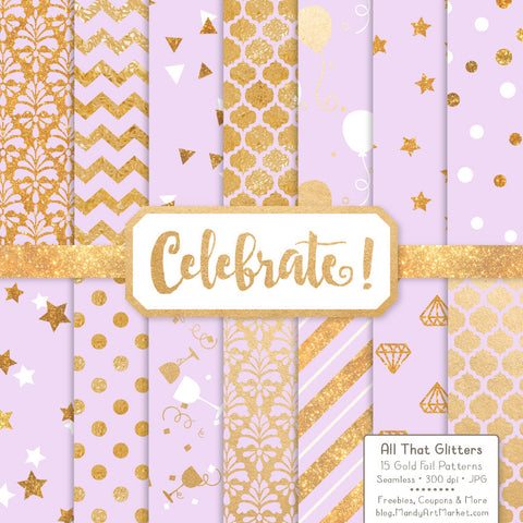 Celebrate Gold Foil Digital Papers in Lavender by Amanda Ilkov - Mandy Art Market - 1