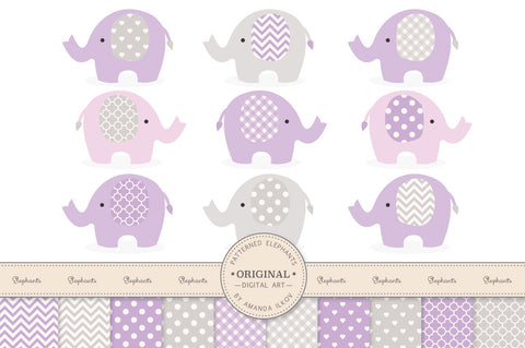 Elephant Clipart & Digital Papers in Lavender by Amanda Ilkov - Mandy Art Market