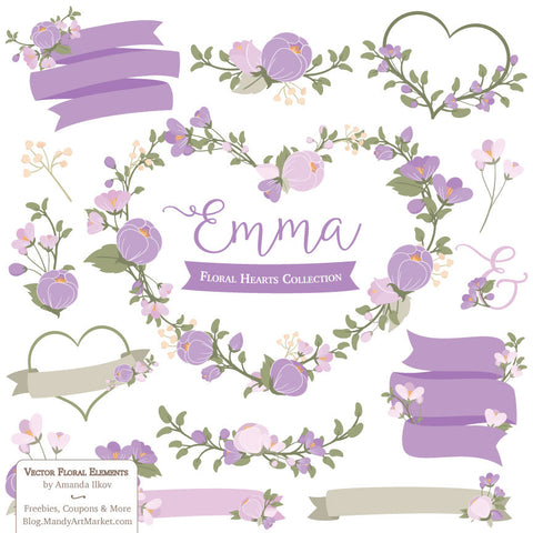 Floral Heart Wreaths Clipart in Lavender by Amanda Ilkov - Mandy Art Market - 1