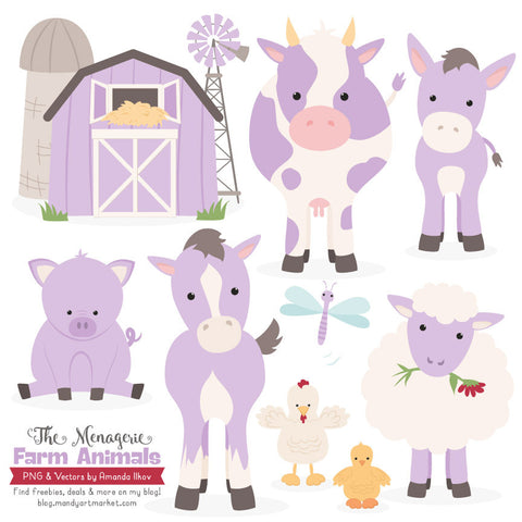 Farm Animals Clipart in Lavender by Amanda Ilkov - Mandy Art Market - 1