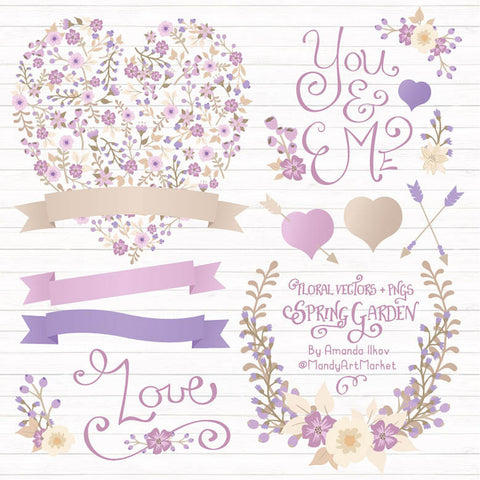 Floral Heart Clipart in Lavender by Amanda Ilkov - Mandy Art Market - 1