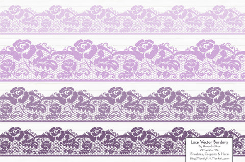 Lace Border Clipart in Lavender by Amanda Ilkov - Mandy Art Market - 1