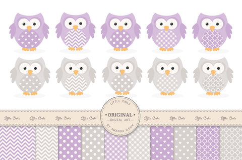 Owl Clipart & Digital Papers in Lavender by Amanda Ilkov - Mandy Art Market - 1
