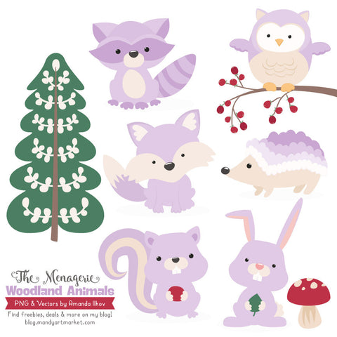 Woodland Animals Clipart in Lavender by Amanda Ilkov - Mandy Art Market - 1