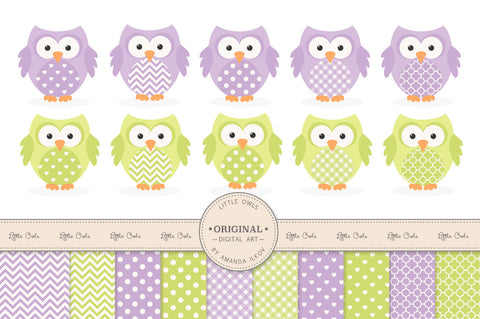Owl Clipart & Digital Papers in Fresh Lime & Lavender by Amanda Ilkov - Mandy Art Market - 1