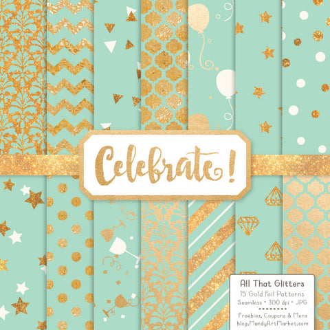 Celebrate Gold Foil Digital Papers in Mint by Amanda Ilkov - Mandy Art Market - 1