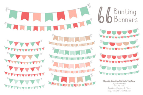 Classic Bunting Banner Clipart in Mint & Coral by Amanda Ilkov - Mandy Art Market - 1