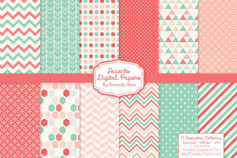Geometric Digital Papers in Mint & Coral by Amanda Ilkov - Mandy Art Market - 1