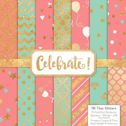 Celebrate Gold Foil Digital Papers in Mint & Coral by Amanda Ilkov - Mandy Art Market - 1
